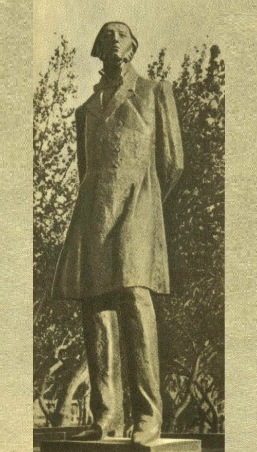 Soviet Armenian sculptor Nikolai Nikogosyan. Monument to M. Nalbandyan in Yerevan. 1965. Bronze, granite