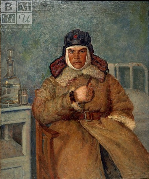 One of the portraits on which Mashkov worked in the Moscow military hospitals in 1942-1944