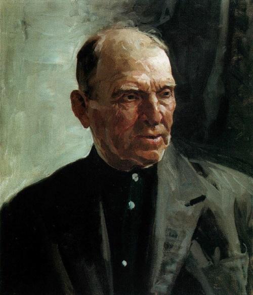 Soviet artist Fyodor Vasilyevich Shapayev. Portrait of a father. 1971. The property of the artist