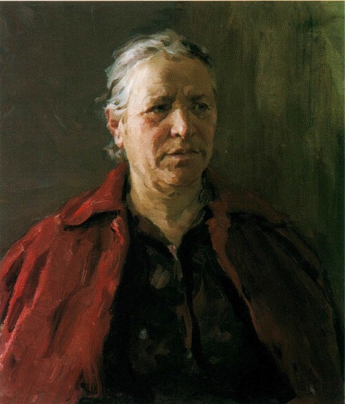 Soviet artist Fyodor Vasilyevich Shapayev. Portrait of a mother. 1964. The property of the artist