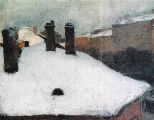 Roof with snow. 1889. First student work of Soviet artist Igor Grabar