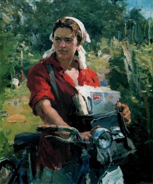 Rural postman 1959. Voronezh Regional Art Museum named after IN Kramskoi. Soviet artist Fyodor Vasilyevich Shapayev