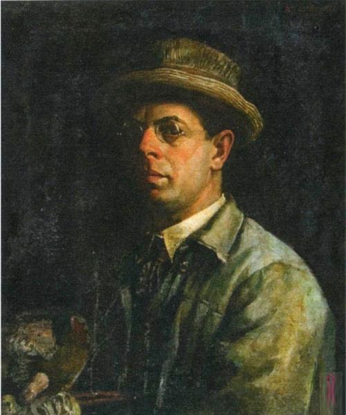 Self-portrait. 1927. Soviet artist Vasily Hvostenko (1896 - 1960)