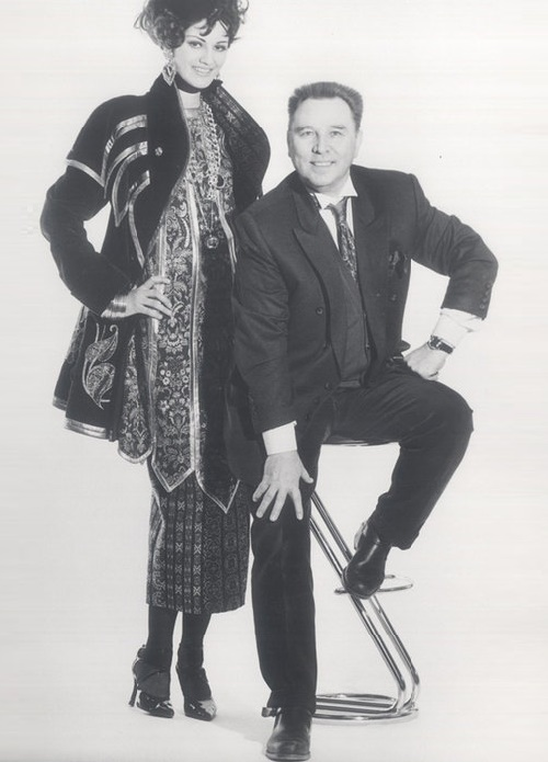 Soviet fashion designer Vyacheslav Zaitsev and model Leka Mironova