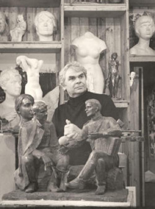 Soviet sculptor Albert Sergeyev working on his sculptural composition of Alexander Tvardovsky and Vasily Terkin
