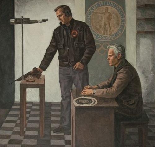 Stepan Orlov (1929-2003). Portrait of world champion in shooting G.N. Zapolskikh and his trainer