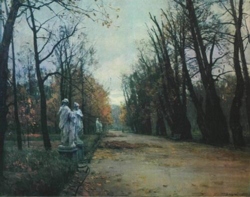 Soviet landscape painter Aleksei Gritsai. Summer garden. Pastel. 1955