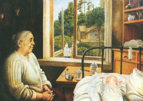 Tatyana Nazarenko. Morning. Grandmother and Nikolka. Oil. 1971