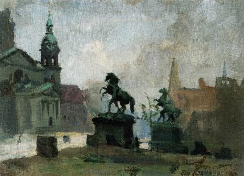The horses of Klodt in Berlin. May 1945. From Berlin series of sketches. Soviet artist Boris Mikhailovich Nemensky