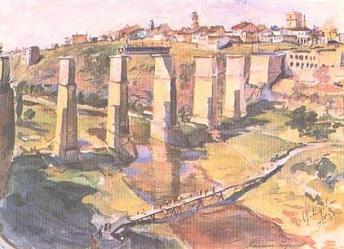 V. Davydov. Kamenetz-Podolsky. Watercolor. 1945
