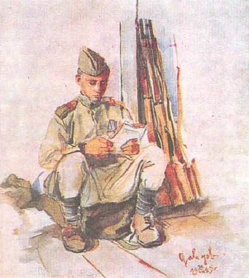 Front-line drawings of the Soviet artist Vitaly Davydov. Member of the Budapest battle Pyotr Ikonnikov. Watercolor. 1945