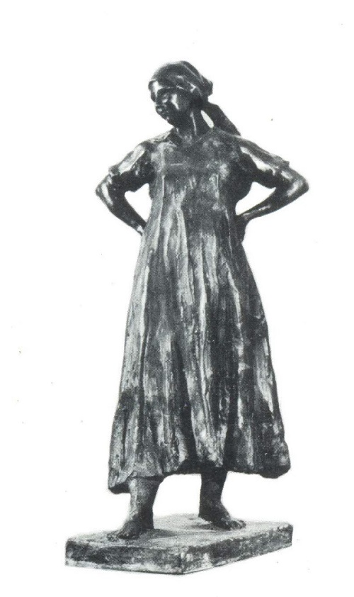 Soviet sculptor Yekaterina Belashova-Alekseyeva. Collective farm woman. 1957. Bronze