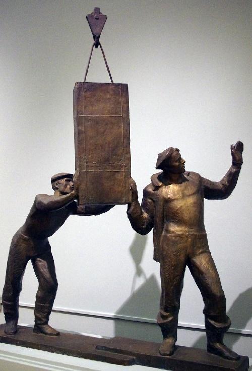 Soviet sculptor Yuri Chernov. In Murmansk port. 1961. Bronze