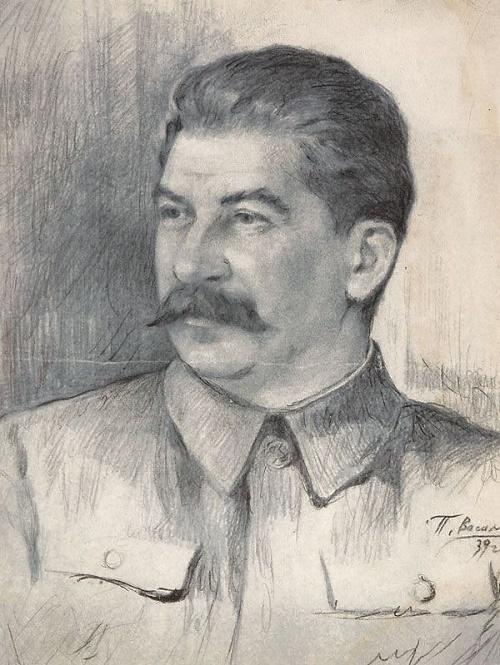 I.V. Stalin. 1939. Drawing by Soviet artist Pyotr Vasilyev