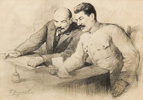 Lenin and Stalin in painting of Soviet artist Pyotr Vasilyev