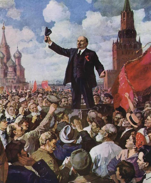Lenin speaking on Red Square. May 1919