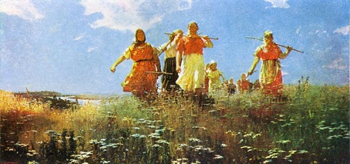 On the peaceful fields. 1950