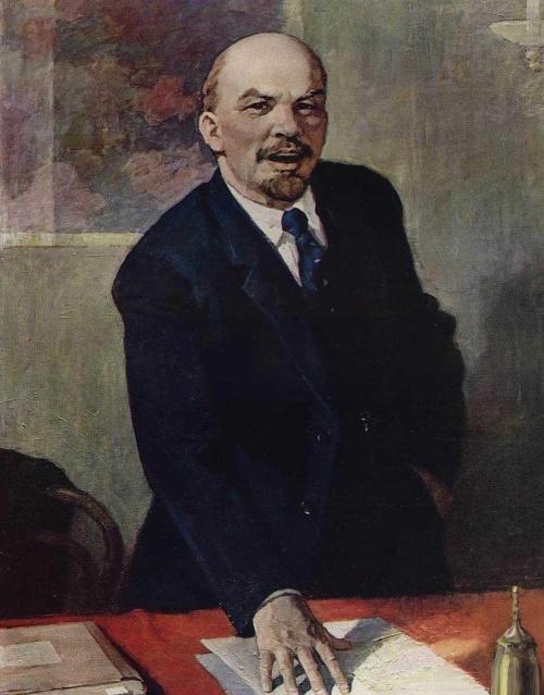 Lenin and Stalin in painting of Soviet artist Pyotr ...