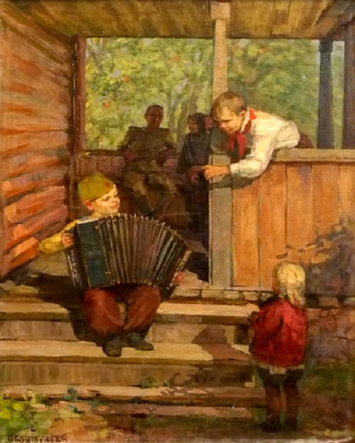 After the war. 'Little Soldier' (a boy playing the accordion). Soviet painter Nadezhda Isaakovna Kovtunova
