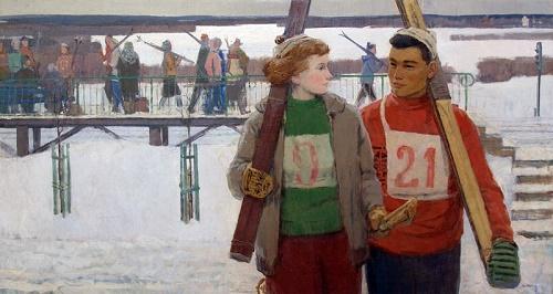 Anatoly Nikich-Krilichevsky (1918-1994). Skiers. 1950s