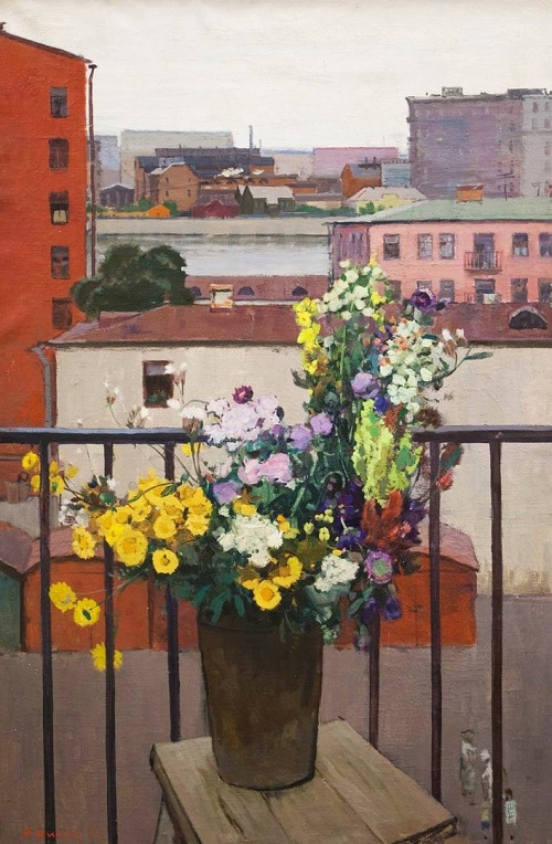 Still life with yellow flowers. 1957. Painting by Soviet artist Anatoly Nikich-Krilichevsky (1918-1994)
