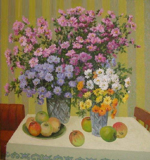 Chrysanthemums with apples
