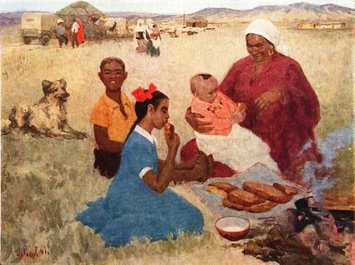 Fresh Bread. 1961. Soviet artist Kamil Shayahmetov 1928 - 1995