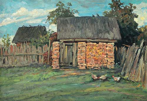 In the village. Painting by Soviet artist Mikhail Ananiev