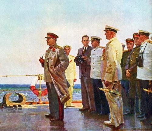 Stalin on the Cruiser. Soviet Ukrainian painter Victor Puzyrkov (4 October 1918 — 30 October 1999)