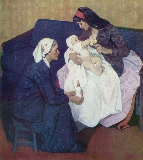 Mothers. 1979. Painting by Soviet Russian artist Mikhail Likhachev