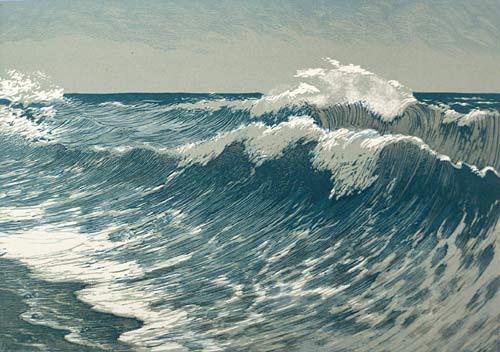 Surf. End of 1950. Soviet graphic artist Viktor Bibikov (31 October 1903 - 1973)
