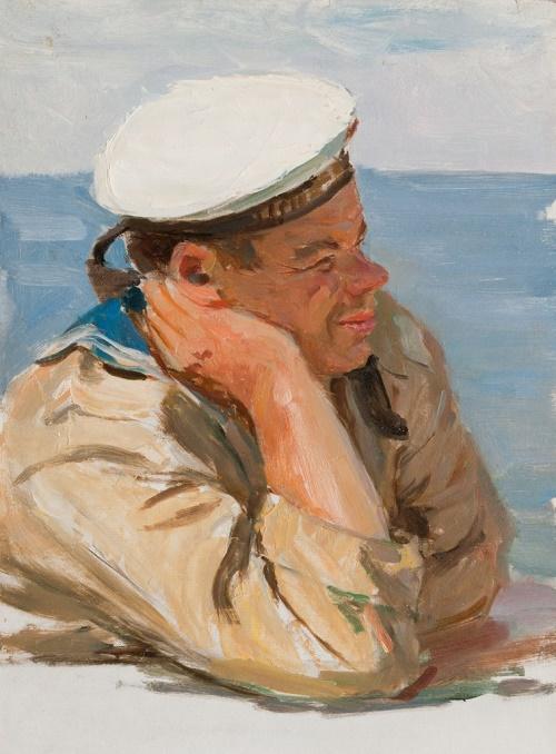 The sailor of the Baltic Fleet. 1950-ies. Soviet painter Andrey Sergeyevich Bantikov