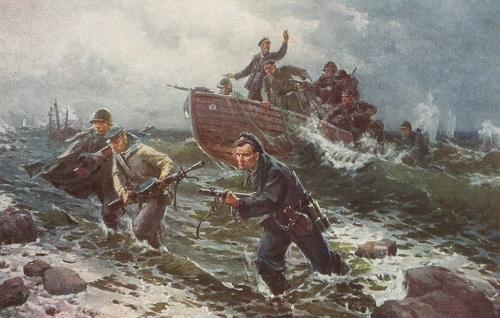 Victor Puzyrkov (1918-1999). Landing on the Black Sea. 1947. Oil on canvas