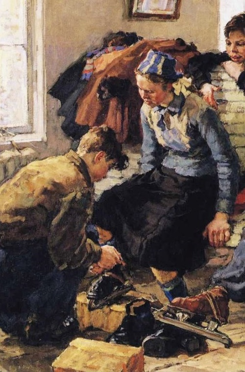 Young ice-hockey players. 1950s. Detail of painting