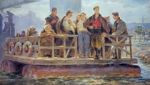 Ferry. 1964 oil painting