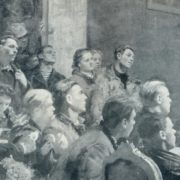 Fragment. Speech of Lenin at the III Congress of the Komsomol. 1950, oil on canvas
