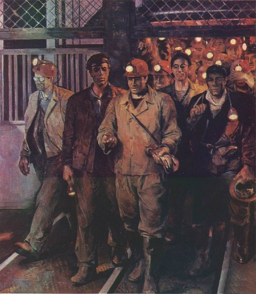Miners of Northern Urals. Soviet painter Mikhail Trufanov (November 22, 1921 - April 24, 1988)