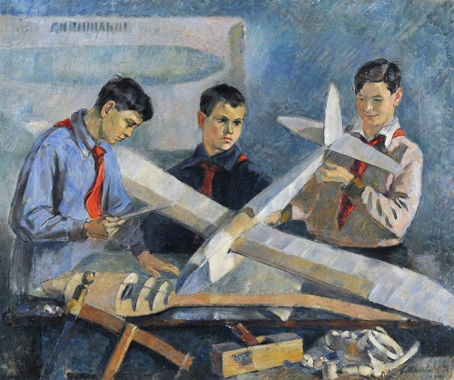 Model airplane constructors, 1934. Saratov State Art Museum named after AN Radishchev. Soviet artist Boris Milovidov (12 November, 1902 - June 17, 1975)