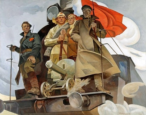 Our locomotive goes forward! 1972. Oil, canvas. Painting by Soviet artist Revold Baryshnikov (18 November 1924 - 5 August 1985)