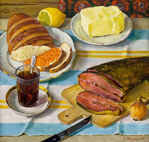 Still life with red fish. 1985. Soviet Tatar still life painter Rushan Yakupova