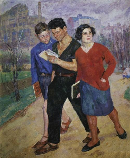 Soviet artist Boris Ioganson 1893-1973. Rabfak (Students workers) are going. 1928. Oil on canvas