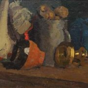 Still life with potatoes. 1918. Oil on cardboard