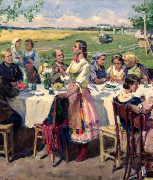 Village festival. 1950s, fragment. Soviet artist Evgeny Rastorguev (1920 - 2009)