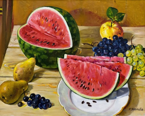 Water melon and fruit. 2001. Oil on canvas. Soviet Tatar still life painter Rushan Yakupova