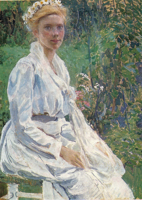 Alexander Golovin. 1863-1930. A Finnish girl. Size color and pastel on cardboard