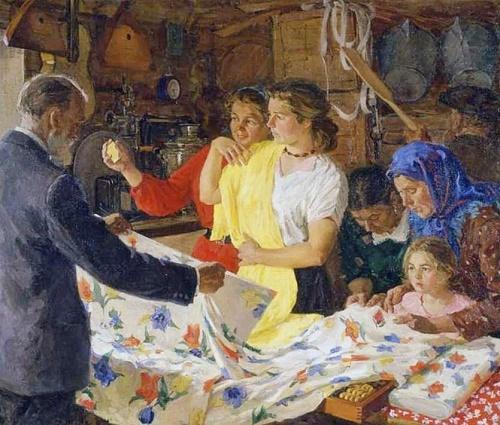 Before holiday. In the village shop. 1957. Soviet artist Viktor Kiselev (12 July 1907 - 14 June 1985)