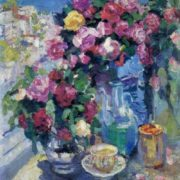 Konstantin Korovin. 1861-1939. Roses. 1916. Oil on canvas