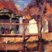 Latif Nasreddinov. 1918-1943. Tea-house over the Khauz (water-reservoir). Oil on canvas
