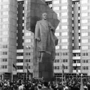 East Berlin, Germany, 1970. Work by Soviet sculptor Nikolai Tomsky (December 6, 1900 - November 22, 1984)