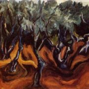 Olive trees. 1972. Oil on canvas. Property of artist